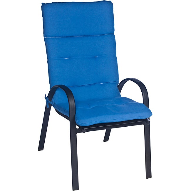 Outdoor wicker swing chair - Ali Patio Polyester Blue Solid Tufted Hi Back Outdoor Arm