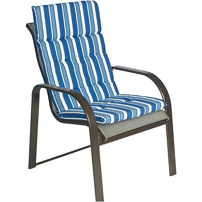 Ali Patio Polyester Navy Blue Stripe Tufted Hi back Outdoor Arm Chair Cushion