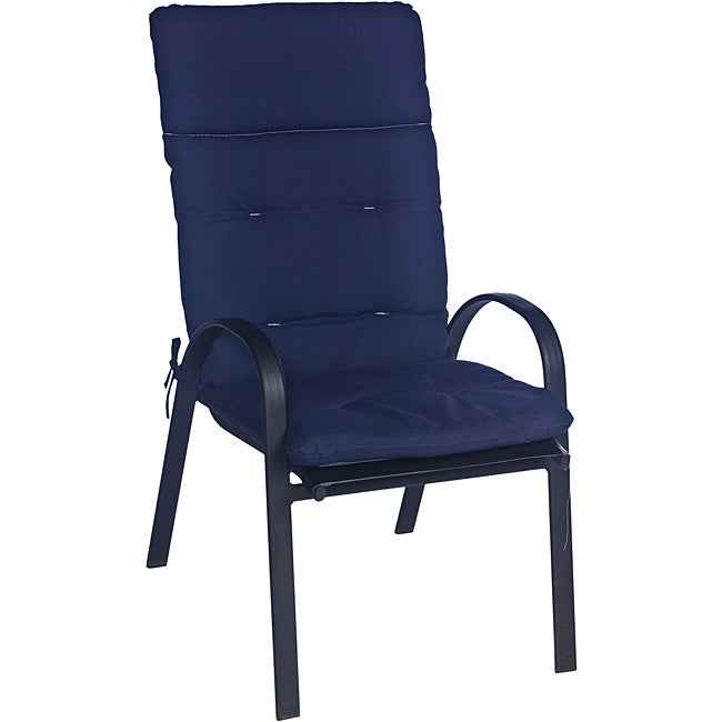 Ali Patio Polyester Navy Blue Solid Tufted Hi-back Outdoor Arm Chair Cushion - Thumbnail 0