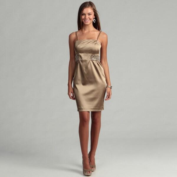 Calvin Klein Women's Camel Beaded Waist Dress