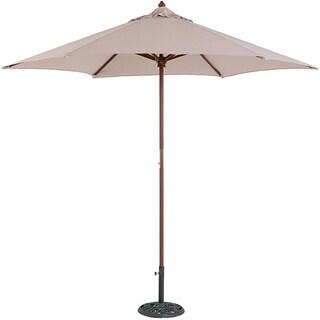 TropiShade 9' Wood Market Umbrella with Beige Cover