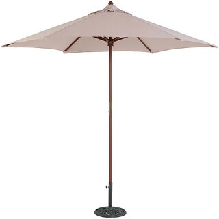 TropiShade 9' Wood Market Umbrella with Beige Cover