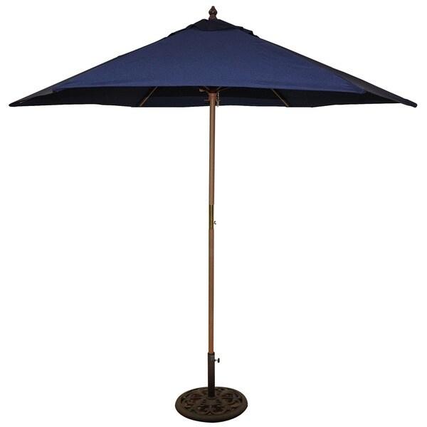 TropiShade 9' Wood Market Umbrella with Navy Cover