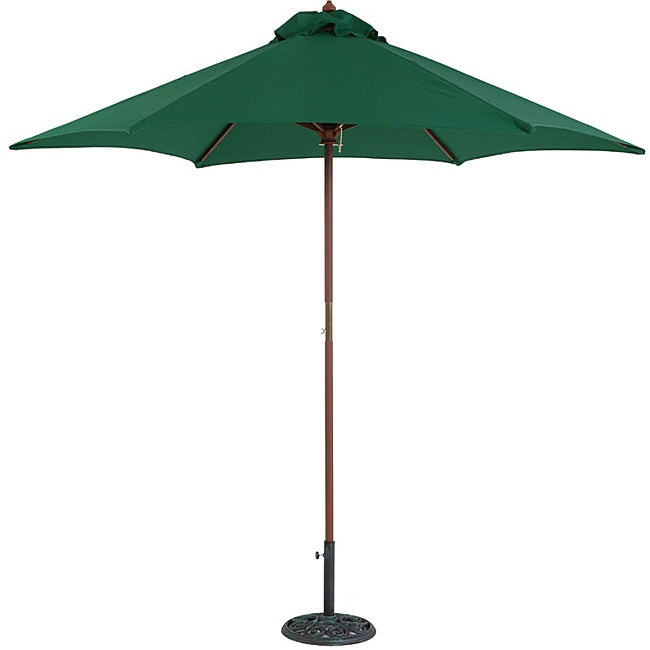 TropiShade 9' Wood Market Umbrella with Green Cover
