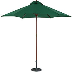 TropiShade 9 Wood Market Umbrella with Green Cover