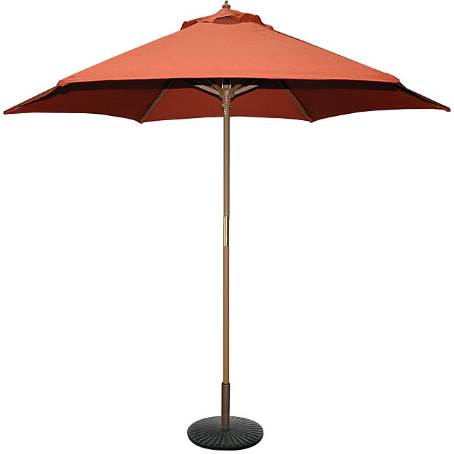 Tropishade 9 Wood Market Umbrella With Rust Cover Free