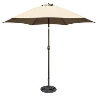 Tropishade 9 ft. Aluminum Bronze Patio Umbrella with Beige Cover