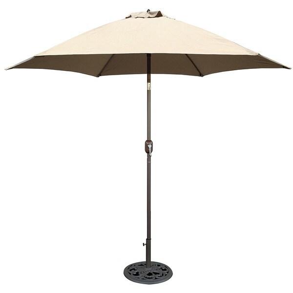 Tropishade 9 ft. Aluminum Bronze Patio Umbrella with Beige Cover