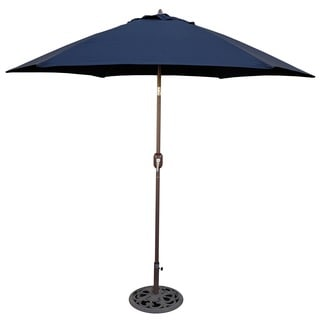 Aluminum Bronze Patio Umbrella With Navy Cover
