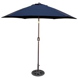 Tropishade 9 ft. Aluminum Bronze Patio Umbrella with Navy Cover