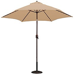 TropiShade 9-foot Beige Aluminum Bronze Lighted Market Umbrella