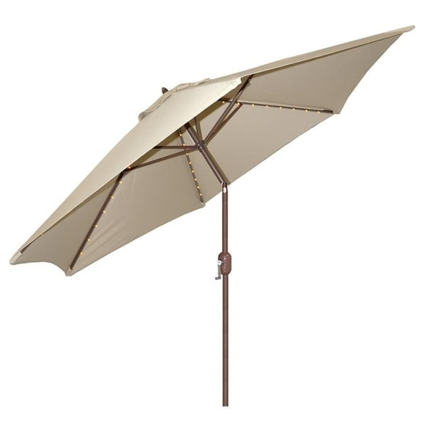 Tropishade 9 Foot Beige Aluminum Bronze Lighted Market