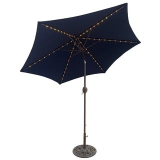 TropiShade 9-foot Navy Aluminum Bronze Lighted Market Umbrella