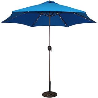 Beautiful TropiShade 9 Foot Royal Blue Aluminum Bronze Lighted Umbrella