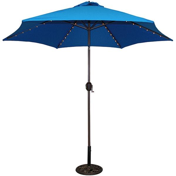 Shop TropiShade 9 Foot Royal Blue Aluminum Bronze Lighted Umbrella
