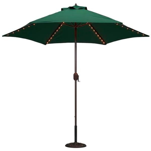 Shop TropiShade 9 Foot Green Aluminum Bronze Lighted Market Umbrella