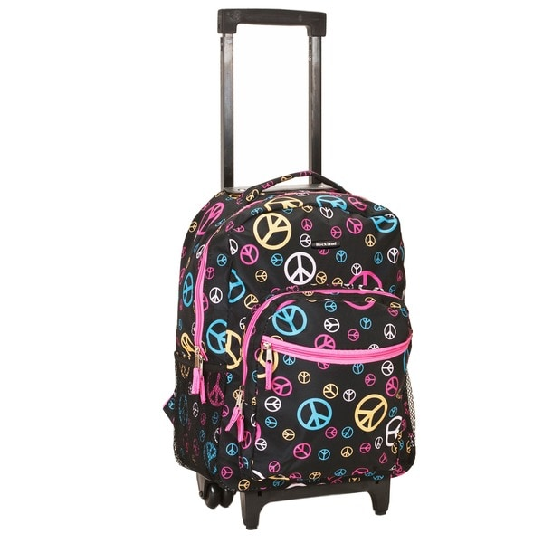 Rockland Deluxe Peace 17-inch Rolling Carry-On Backpack. Opens flyout.