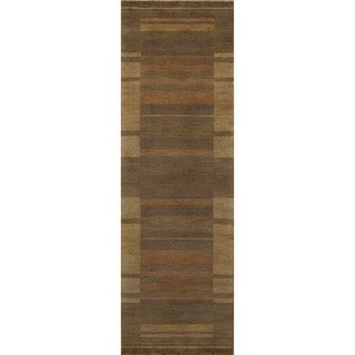 Loft Brown Gabbeh Border Hand-Loomed Wool Rug (2'6 x 8')