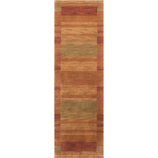 Loft Rust Gabbeh Border Hand-Loomed Wool Rug (2'6 x 8')
