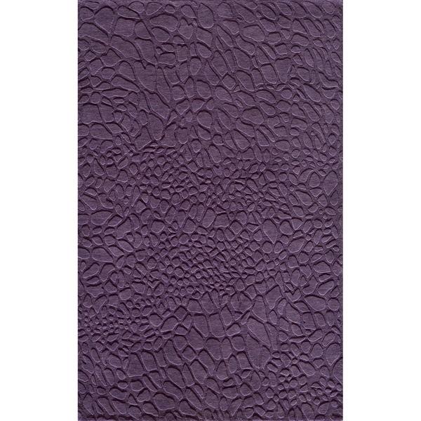 Loft Stones Purple Hand-Loomed Wool Rug (8' x 11')