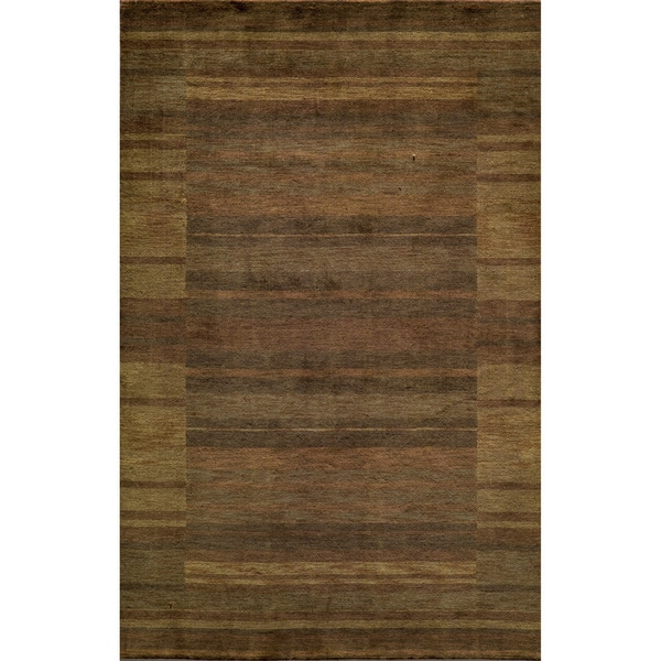 Loft Brown Gabbeh Border Hand-Loomed Wool Rug (8' x 11')