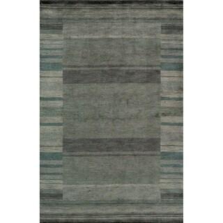 "Loft Blue Gabbeh Border Hand-Loomed Wool Rug (3'6"" x 5'6"")"