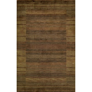 "Loft Brown Gabbeh Border Hand-Loomed Wool Rug (3'6"" x 5'6"")"