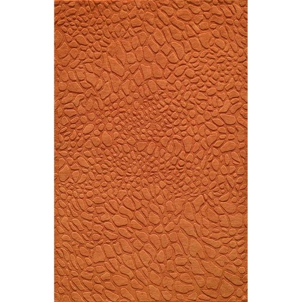 "Loft Stones Tangerine Hand-Loomed Wool Rug (7'6"" x 9'6"")"