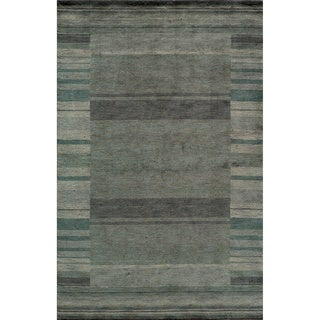 Loft Blue Gabbeh Border Hand-Loomed Wool Rug (8' x 11')