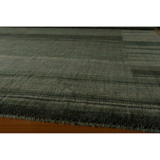 "Loft Blue Gabbeh Border Hand-Loomed Wool Rug (7'6"" x 9'6"")"