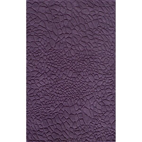 """Loft Stones Purple Hand-Loomed Wool Rug (7'6"""" x 9'6"""")"""