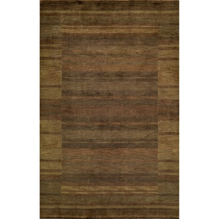 Loft Brown Gabbeh Border Hand-Loomed Wool Rug (2' x 3')
