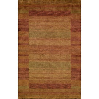Loft Rust Gabbeh Border Hand-Loomed Wool Rug (2' x 3')