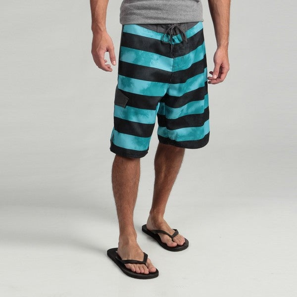 5757038342934 Shop Burnside Men's Teal Striped Boardshorts - Free Shipping On ...