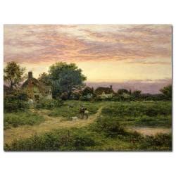 Benhamin Leader, 'Worcestershire Cottages, 1912' Canvas Art