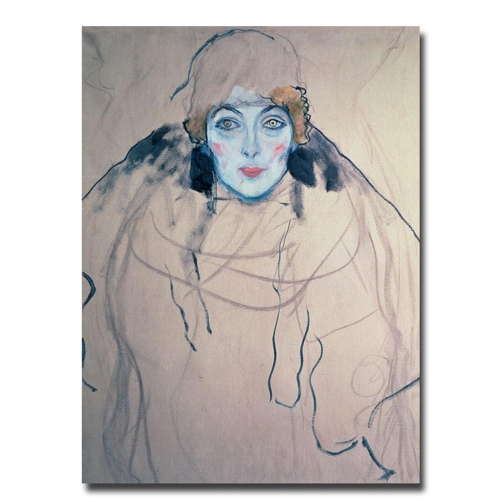 Gustav Klimt 'Head of a Woman' Giclee Print Canvas Art
