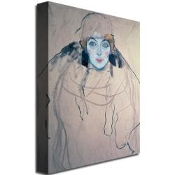 Gustav Klimt 'Head of a Woman' Giclee Print Canvas Art - Thumbnail 1