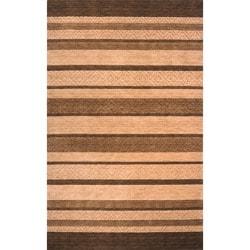 Hand-loomed Loft Gabbeh Stripes Brown Wool Rug (9'6 x 13'6)