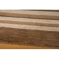 Hand-loomed Loft Gabbeh Stripe Brown Wool Rug (2' x 3')