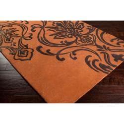Candice Olson Hand-tufted Orange Orpheus Damask Design Wool Rug (3'3 x 5'3) - Thumbnail 1