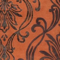 Candice Olson Hand-tufted Orange Orpheus Damask Design Wool Rug (3'3 x 5'3) - Thumbnail 2