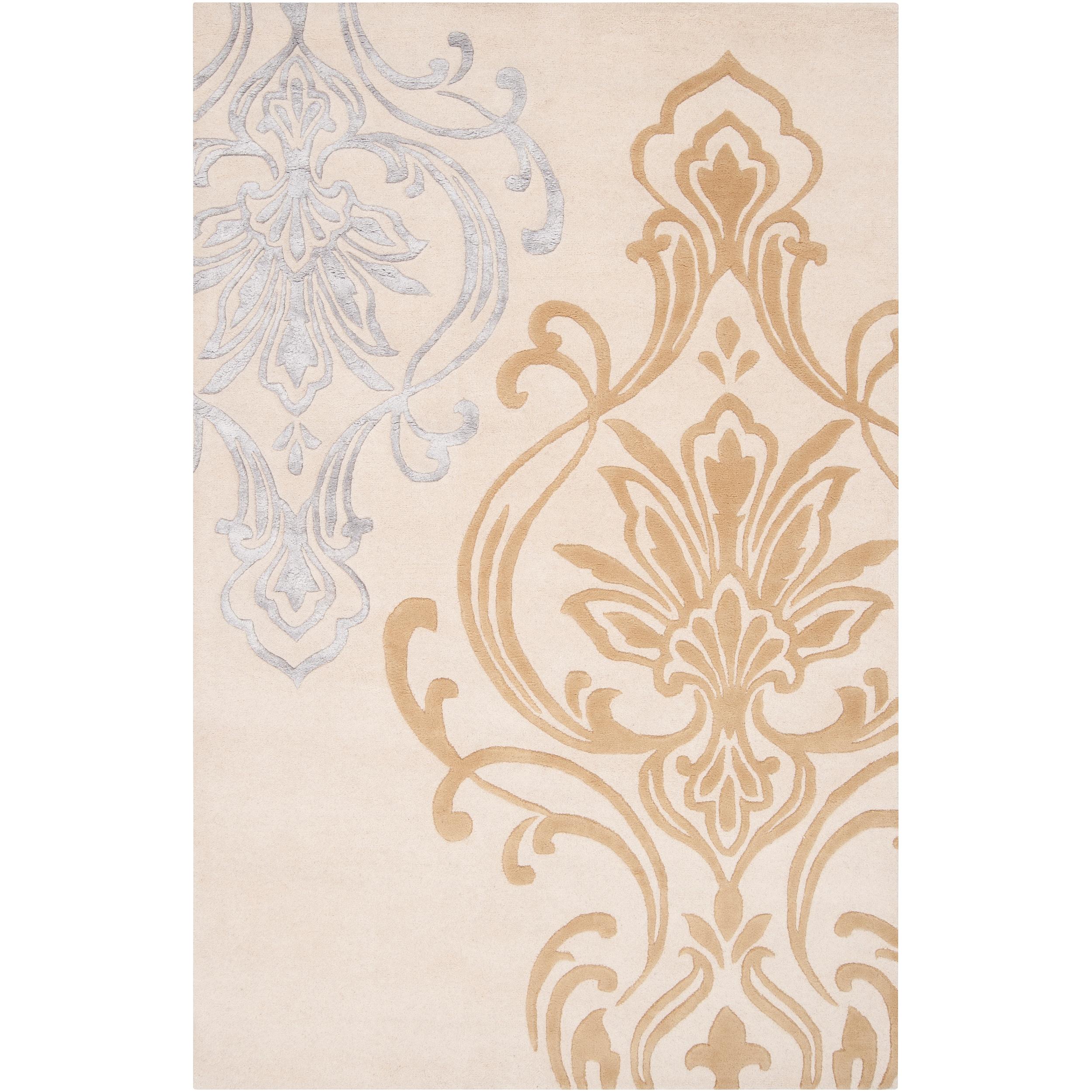 Hand-tufted Ivory Eurydice Damask Design Wool Area Rug (5' x 8')
