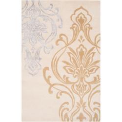 Hand-tufted Ivory Eurydice Damask Design Wool Area Rug (5' x 8') - Thumbnail 0