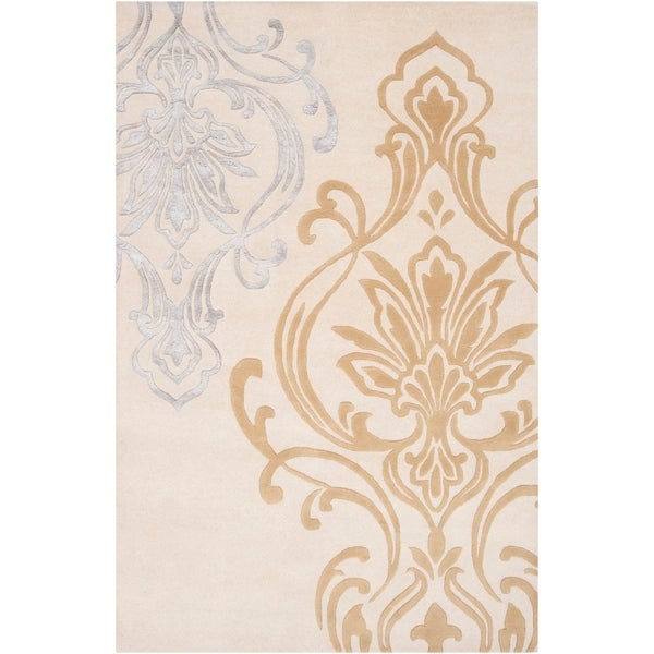 Hand-tufted Ivory Eurydice Damask Design Wool Area Rug - 5' x 8'