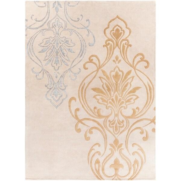 Hand-tufted Ivory Eurydice Damask Design Wool Area Rug - 8' x 11'
