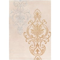 Hand-tufted Tan Eurydice Damask Design Wool Area Rug - 9' x 13'