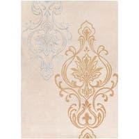 Hand-tufted Tan Eurydice Damask Design Wool Area Rug - 9' x 13'