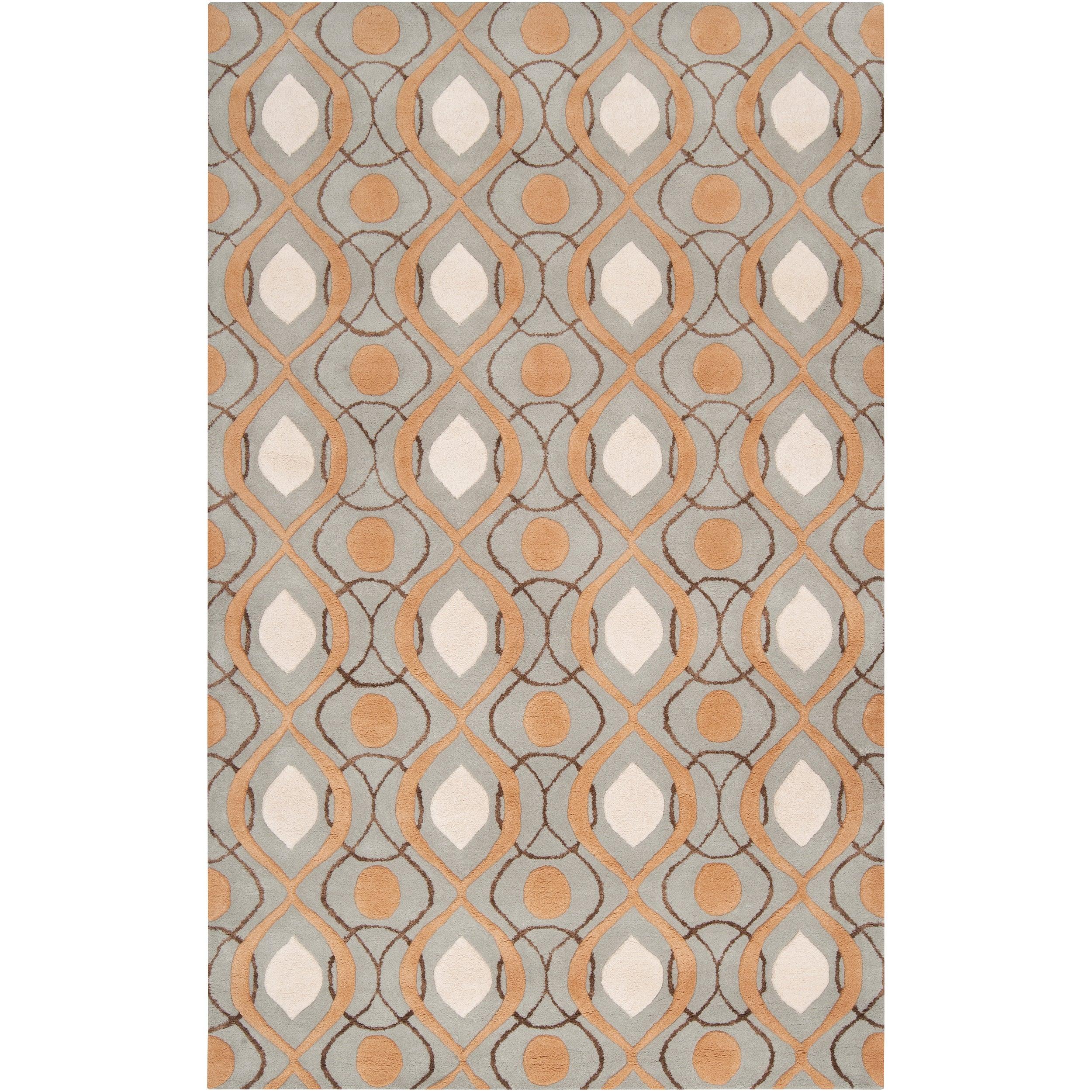 Hand-tufted Orange Stonehenge Moroccan Tile Wool Rug (5' X