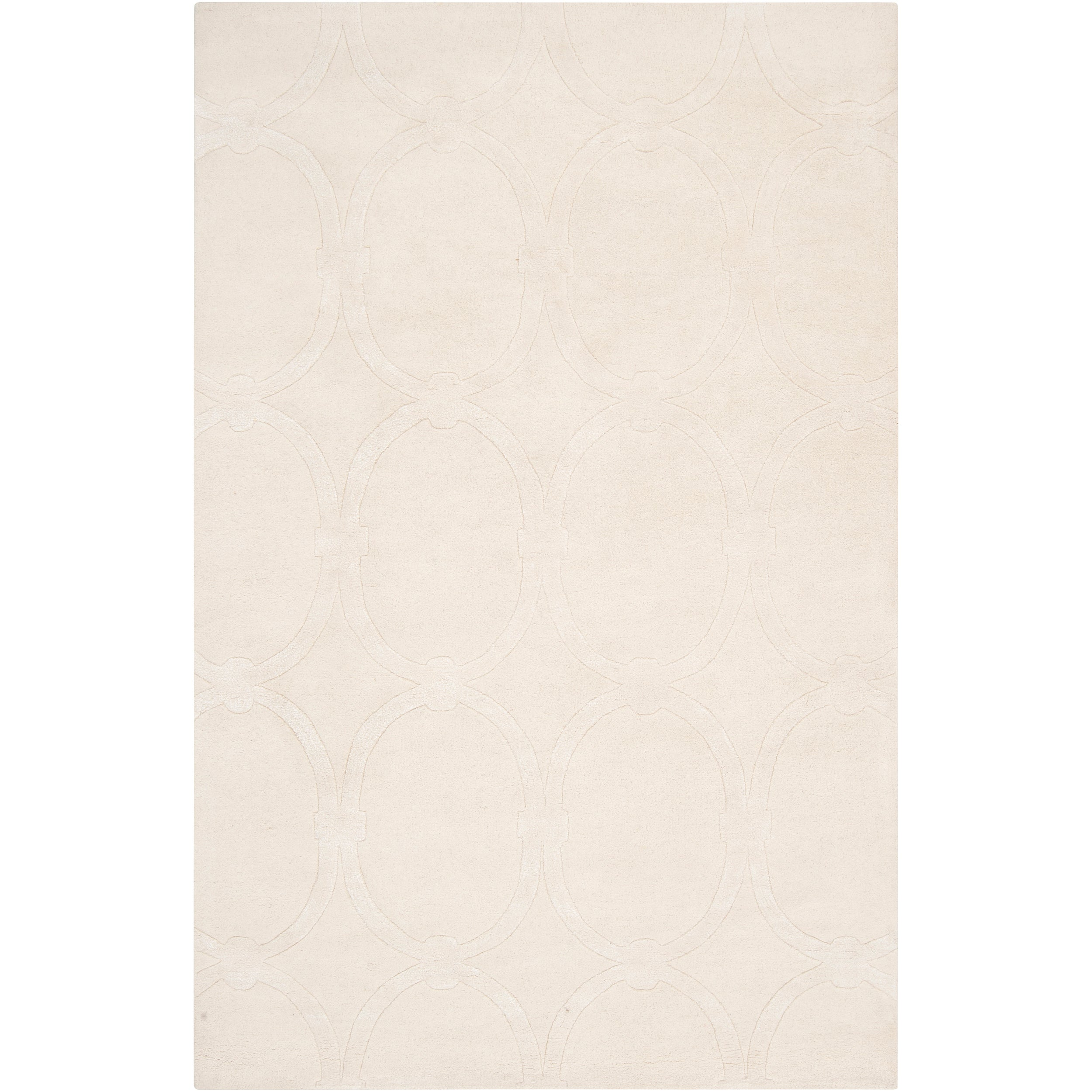 Hand-tufted White Parthenon Trellis Pattern Wool Area Rug (5' x 8')