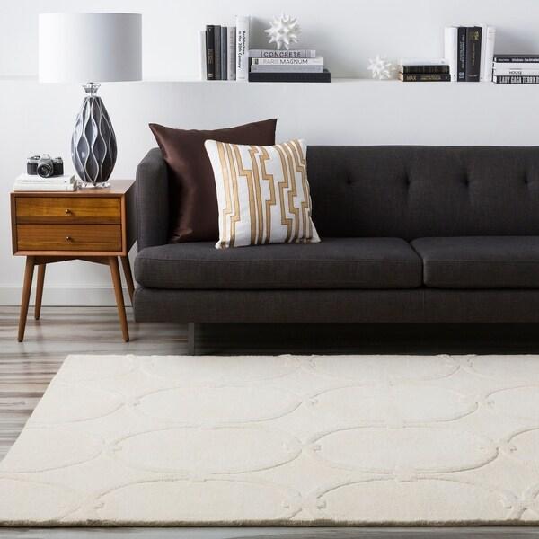Hand-tufted White Parthenon Trellis Pattern Wool Area Rug - 8' x 11'